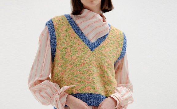 EENK韩国设计师品牌V领无袖宽松彩色编织马甲背心毛衣上衣直邮