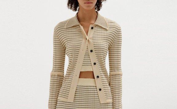 EENK韩国设计师品牌2021春夏款气质条纹针织上衣半身裙开衫外套