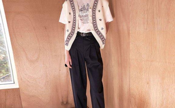 正品代购VITALSIGN韩国设计师品牌2021春夏款高腰褶皱宽松长裤
