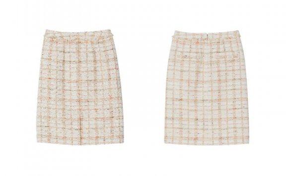韩国设计师品牌FRONTROW 2021春夏款气质小香风粗花呢半身裙直邮