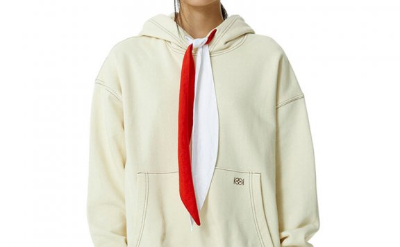 正品代购韩国设计师品牌KIJUN 2021春款拼色绸带帽衫口袋卫衣直邮