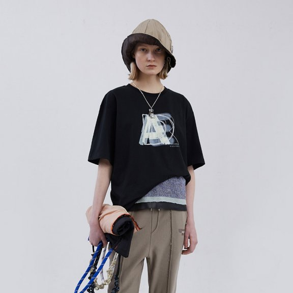 ADER ERROR韩国设计师品牌2021春款分层徽标圆领短袖T恤男女款