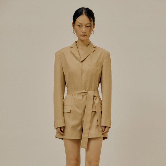 LOW CLASSIC 2021春夏西装连体裤韩国设计师品牌翻领腰带款连体衣