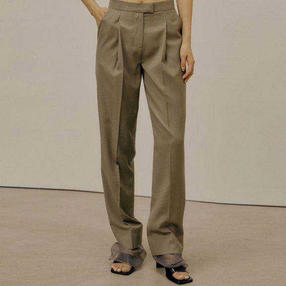 LOW CLASSIC 2021春夏休闲西裤韩国设计师品牌薄纱拼接层次高腰裤