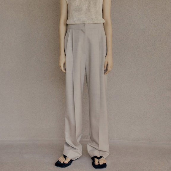 LOW CLASSIC 2021春夏长裤西裤韩国设计师品牌高腰褶皱直筒休闲裤