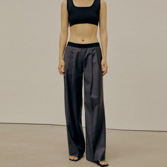 韩国设计师品牌LOW CLASSIC 2021春夏长裤西裤松紧腰直筒阔腿裤