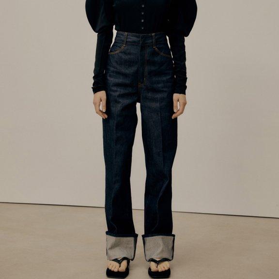 韩国设计师品牌LOW CLASSIC 2021SS春夏高腰直筒卷边直筒牛仔裤