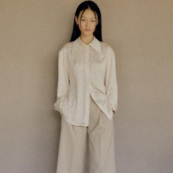韩国设计师品牌LOW CLASSIC 2021春夏衬衫尖翻领印花衬衣上衣两色