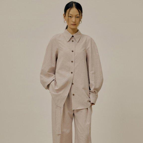 韩国设计师品牌LOW CLASSIC2021春夏衬衫尖翻领亚麻长袖衬衣上衣