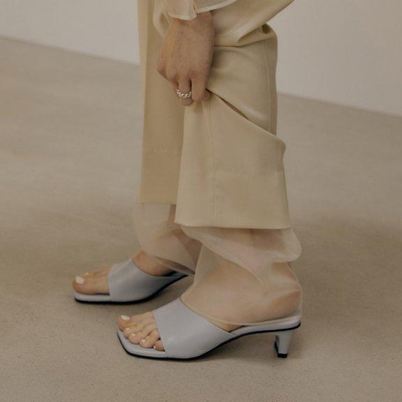 韩国设计师品牌LOW CLASSIC 2021SS春夏方头凉拖中高跟凉鞋拖鞋