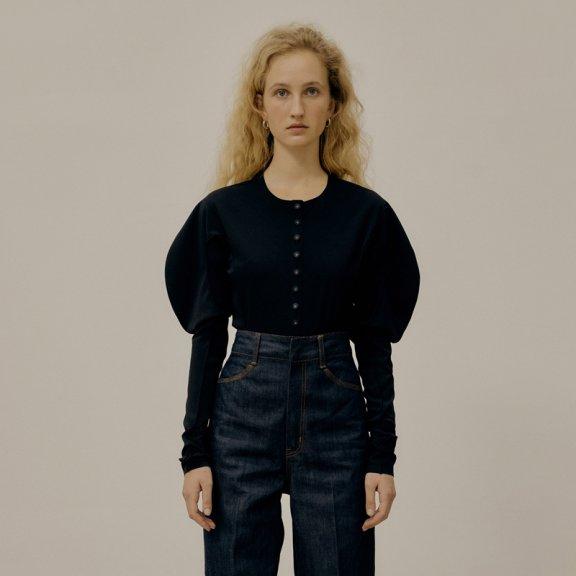 韩国设计师品牌LOW CLASSIC2021SS春夏复古圆领泡泡袖收腰连体衣