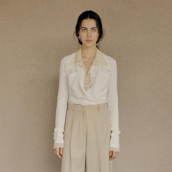韩国设计师品牌LOW CLASSIC 2021春夏衬衫尖领口袋针织系扣衬衣