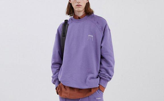ADER ERROR韩国设计师品牌2021春款纯棉肩部撕裂插肩袖宽松卫衣