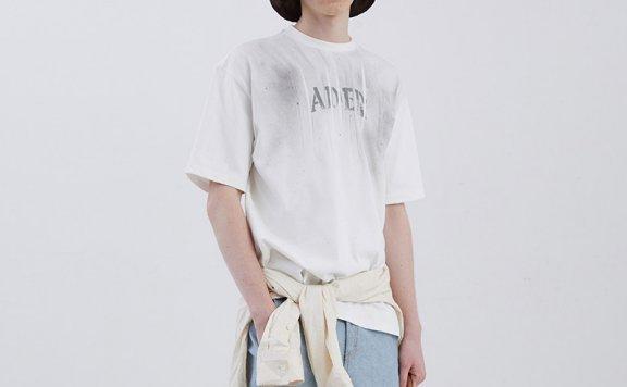 ADER ERROR韩国设计师品牌潮牌2021春款喷墨字母短袖T恤正品直邮