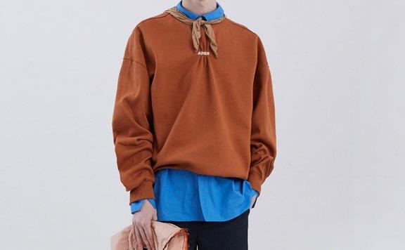 ADER ERROR韩国设计师品牌2021春款褶皱落肩袖套头宽松休闲卫衣