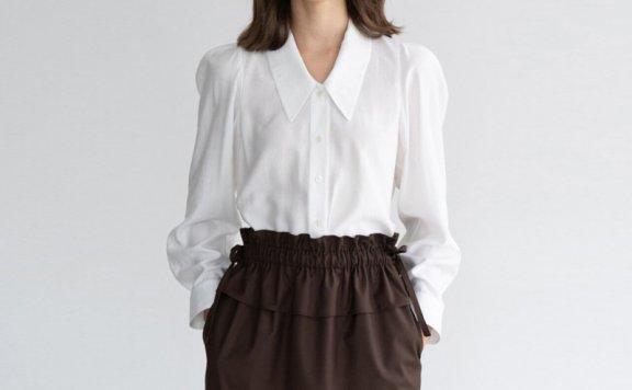 正品Gouache韩国设计师品牌 法式复古尖领休闲百搭长袖衬衫上衣