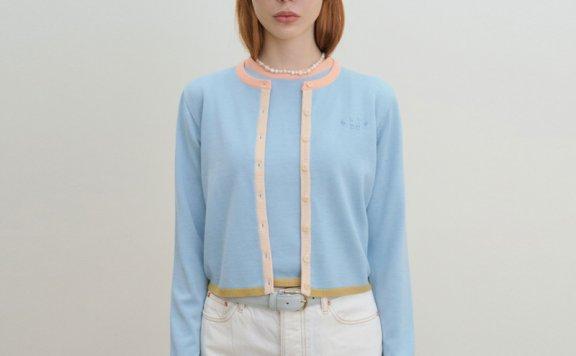 韩国设计师品牌GROVE 2021春款圆领糖果配色单排扣针织开衫外套