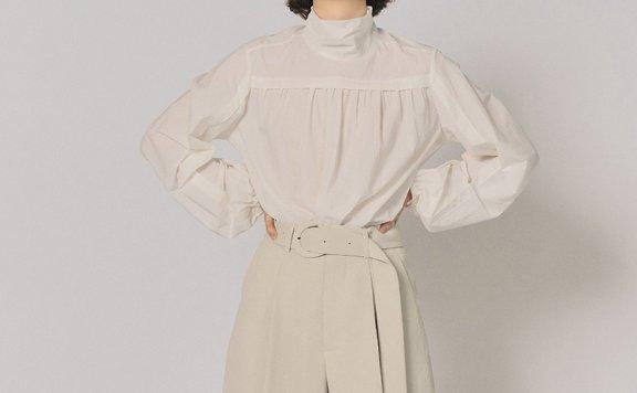 韩国设计师品牌MAISONMARAIS 2021春夏高领抽褶灯笼袖休闲衬衫