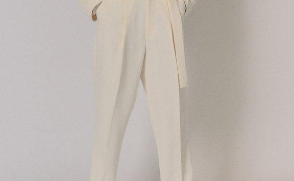 韩国设计师品牌MAISONMARAIS 2021春夏绑带微阔腿裤休闲小脚长裤