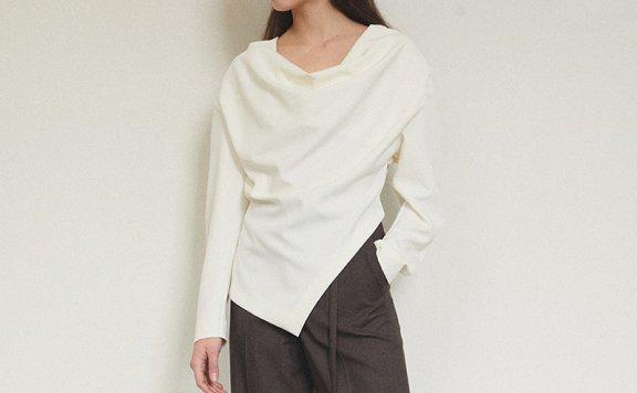 朴信惠同款韩国设计师品牌MAISONMARAIS褶皱领不规则长袖衬衫上衣