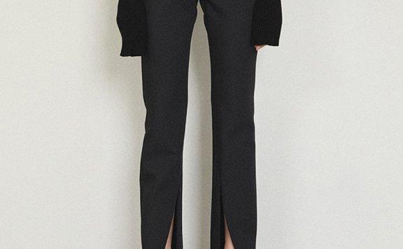 MAISONMARAIS韩国设计师品牌2021春夏百搭显瘦开叉黑色休闲裤正品