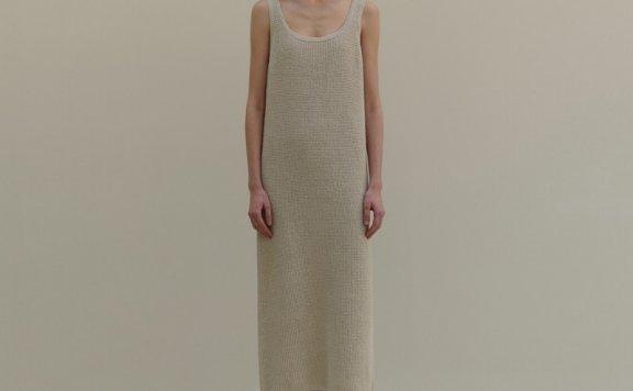 MOIA韩国设计师品牌2021春夏纯棉宽松无袖吊带针织长款连衣裙正品