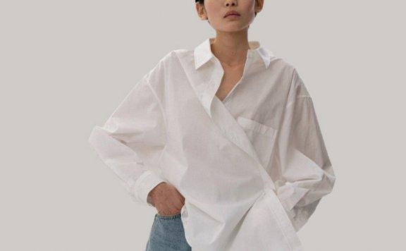 MOIA韩国设计师品牌2021春夏设计感简约百搭翻领交叉长袖衬衫上衣