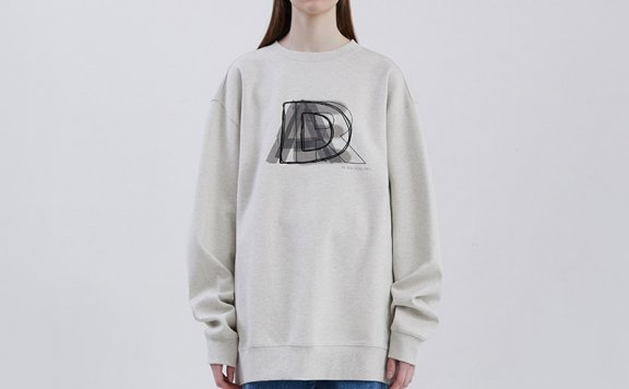 ADER ERROR韩国设计师品牌2021春款圆领宽松分层徽标卫衣男女款