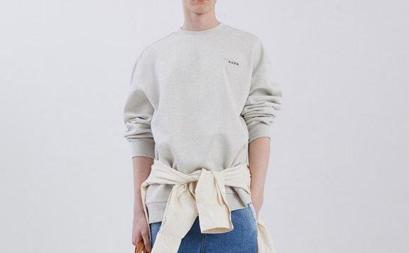 ADER ERROR韩国设计师品牌2021春款棉质胶带徽标宽松圆领卫衣正品