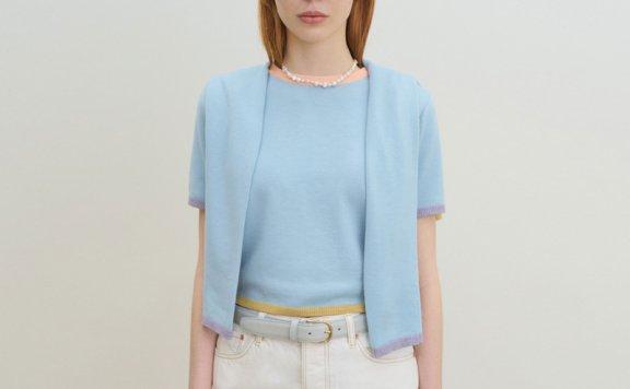 韩国设计师品牌GROVE 2021春款圆领糖果配色短袖针织衫正品直邮