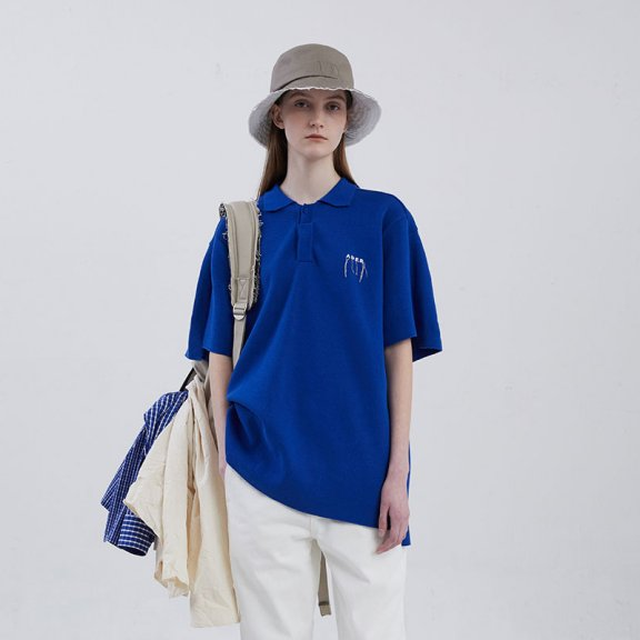ADER ERROR 韩国设计师品牌 20夏款 不对称下摆翻领针织短袖T恤