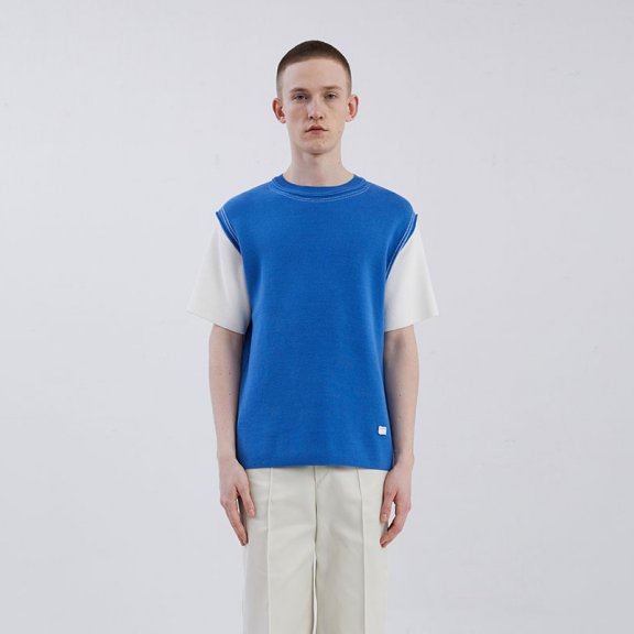正品ADER ERROR 韩国设计师品牌 20夏款简约百搭明线拼色短袖T恤