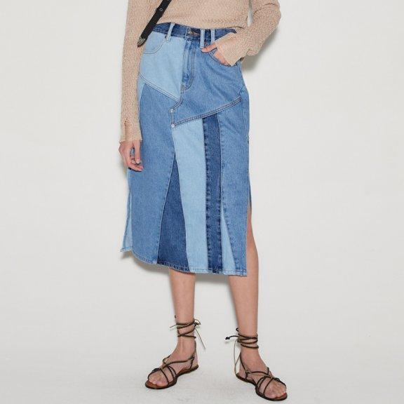 anderssonbell 韩国设计师品牌21春夏纯棉拼接设计感半身裙牛仔裙