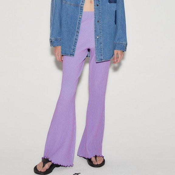 anderssonbell 韩国设计师品牌 21春夏 Gianna条纹中腰喇叭运动裤