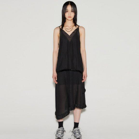正品anderssonbell 韩国设计师品牌 21春夏 深V领不对称流苏连衣裙