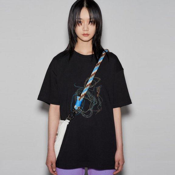 anderssonbell 韩国设计师品牌 21春夏 男女同款落肩刺绣短袖T恤
