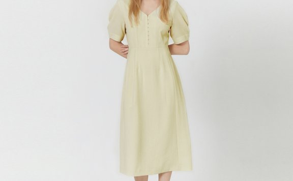 HAE BY HAEKIM韩国设计师品牌 21春夏 V领泡泡袖收腰连衣裙正品