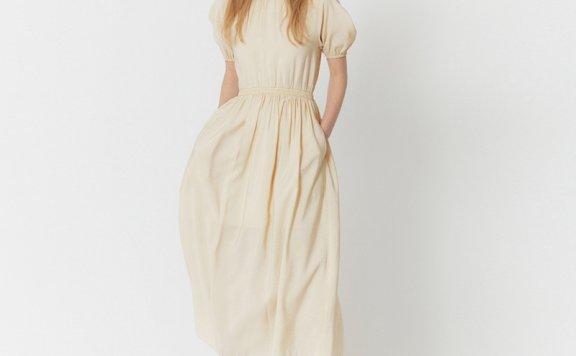 HAE BY HAEKIM韩国设计师品牌 21春夏圆领褶皱灯笼袖收腰连衣裙