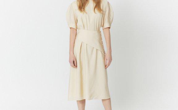 HAE BY HAEKIM韩国设计师品牌 21春夏圆领宽袖层次裹腰收腰连衣裙