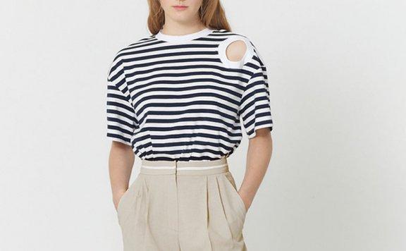 HAE BY HAEKIM 韩国设计师品牌 21春夏 肩部镂空条纹短袖T恤正品