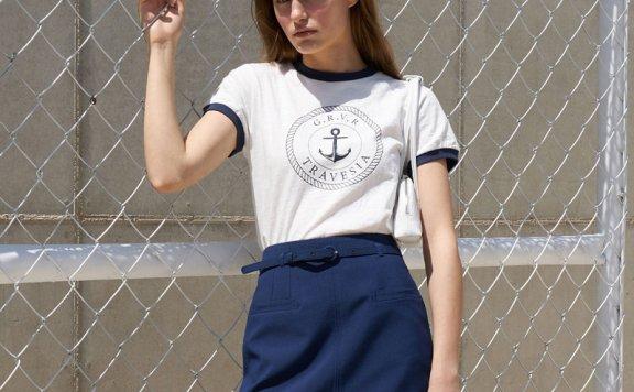 正品代购韩国设计师品牌GROVE 21春夏 圆领配色字母短袖T恤直邮