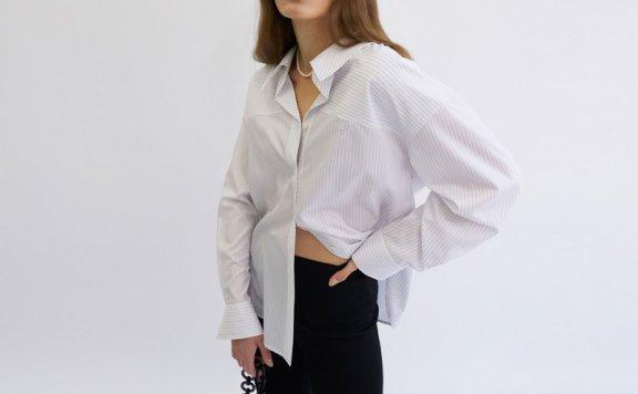 韩国设计师品牌GROVE 21春夏纯棉领口褶皱长袖条纹衬衫正品直邮