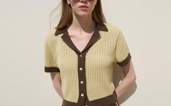 正品代购韩国设计师品牌GROVE 21春夏 短袖配色短款针织开衫直邮