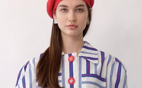 正品代购韩国设计师品牌THE ASHLYNN 21春夏英伦风LOGO款贝雷帽