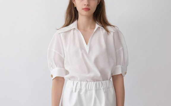 韩国设计师品牌THE ASHLYNN 21春夏薄款小尖领泡泡袖雪纺衫正品