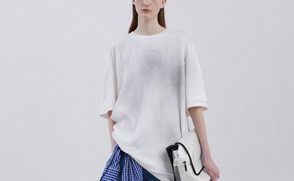 情侣款ADER ERROR韩国设计师品牌 20夏款水洗做旧分层短袖T恤直邮