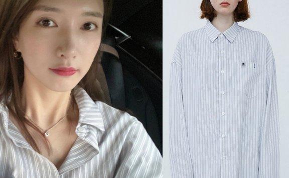 江疏影同款ADER ERROR韩国设计师品牌 20春夏 OVERSIZE竖条纹衬衫