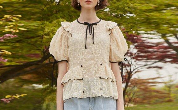 正品VITALSIGN韩国设计师品牌21夏款法式少女蕾丝蝴蝶结系带衬衫