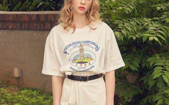 正品代购VITALSIGN韩国设计师品牌21夏款字母数字图案宽松百搭T恤
