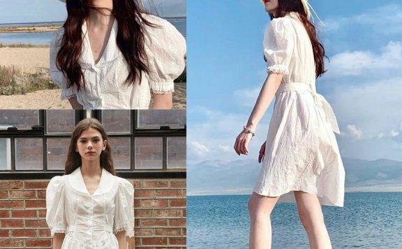鞠婧祎同款VITALSIGN韩国设计师品牌21夏款 翻领蕾丝腰带连衣裙